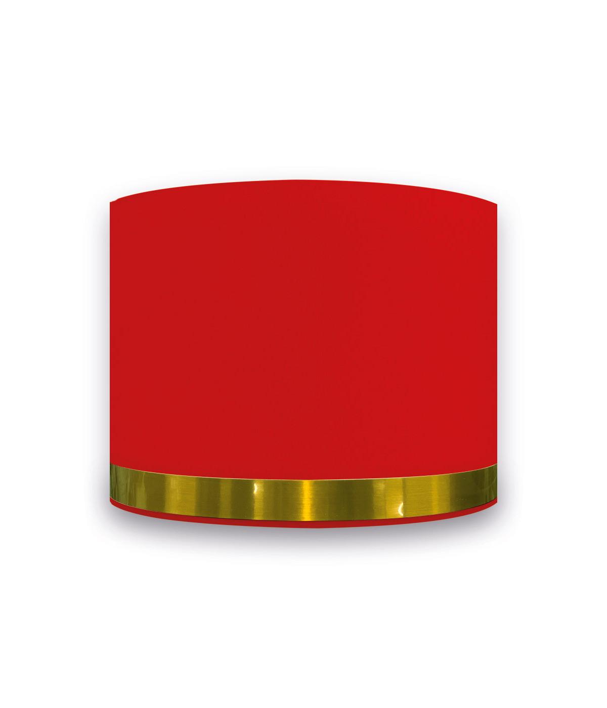 Abat-jour Rond Rouge Jonc Or