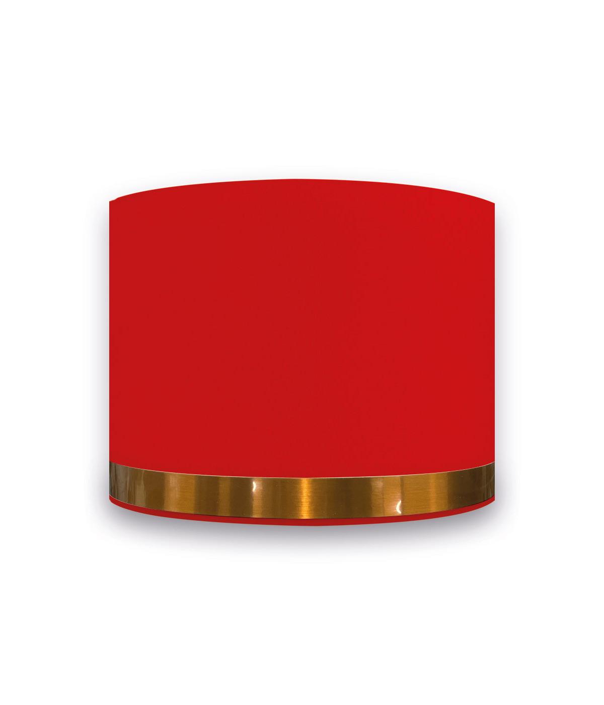 Abat-jour Rond Rouge Jonc Cuivré