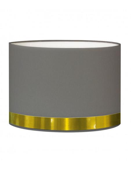 Abat-jour pour chevet rond gris jonc or